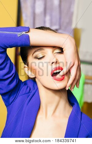 Sexy Girl With Closed Eyes Sucking Finger