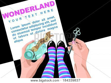 Alice in wonderland. Background.Alice looks at key and potion in the hands. Alice makes the choice. Stock vector, place for  text,  template for design.