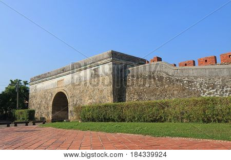Old wall of Fongshan in Kaohsiung Taiwan. Old wall of Fongshan is one of the first Taiwanese cities fortified by a defensive wall. Translation - North Gate.