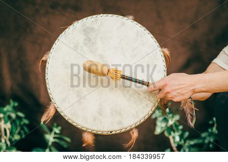 Indian Drum In Sound Therapy, Color Image, Toned Inage,