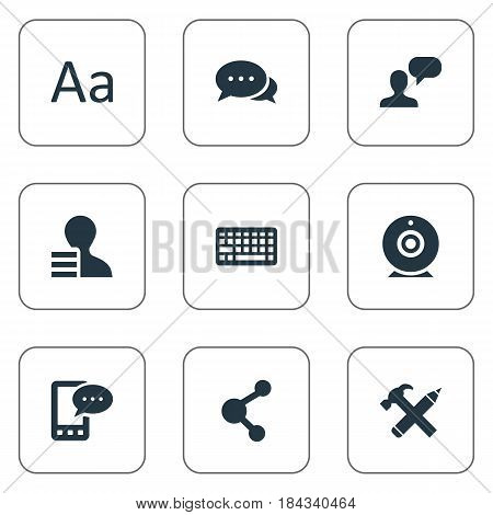 Vector Illustration Set Of Simple Blogging Icons. Elements Share, Repair, Man Considering And Other Synonyms Alphabet, Message And Man.