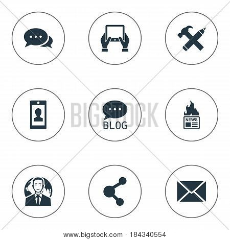 Vector Illustration Set Of Simple Newspaper Icons. Elements Gazette, International Businessman, Argument And Other Synonyms Notepad, Negotiation And Epistle.