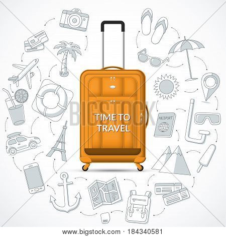 Orange travel suitcase with the set of tourism journey trip tour summer vacation doodle icons. Time to travel concept vector illustration