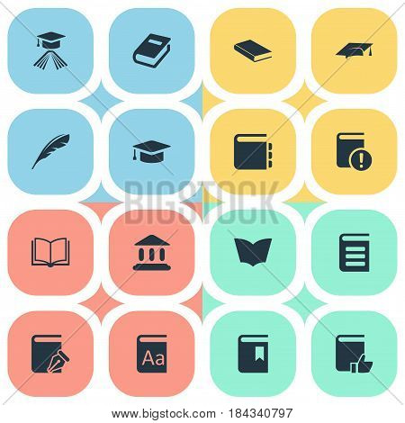 Vector Illustration Set Of Simple Reading Icons. Elements Encyclopedia, Book Cover, Recommended Reading And Other Synonyms Catalog, Plume And Journal.
