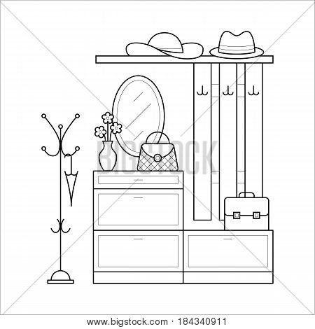 Hall tree with mirror, bookcase, coat rack in corridor apartment. Hallway furniture in house in thin line style. Vector flat element. Black outline linear illustration isolated on white background.