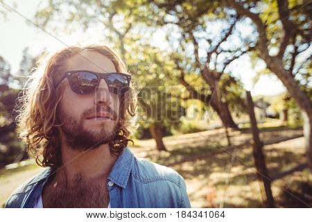 Handsome man in sunglasses standing in park