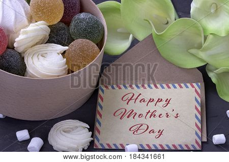 Bouquet Of Green Yellow Callas With Marshmallows Marmalade In A Wooden Round Box And Envelope With L