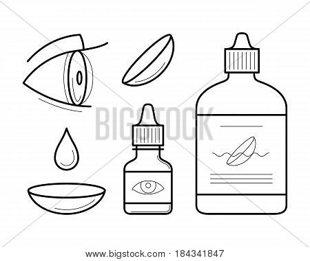 Vision correction icons in thin line style. Eye contact lenses elements drop, container with liquid, artificial tears and case. Vector outline illustrations isolated on white background.