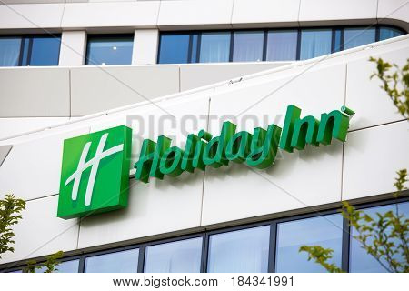 Amsterdam, Netherlands - April, 2017: Holiday Inn Hotel sign in Amsterdam city, Netherlands
