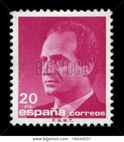 SPAIN - CIRCA 1990: A stamp shows image portrait Juan Carlos I (baptized as Juan Carlos Alfonso Victor Maria de Borbon y Borbon-Dos Sicilias; born in Rome) is the reigning King of Spain circa 1990.
