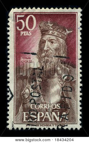SPAIN - CIRCA 1980: A stamp printed in SPAIN shows image of the dedicated to the Fernan Gonzalez was the first independent count of Castile, who had been named count of Arlanza, circa 1980.