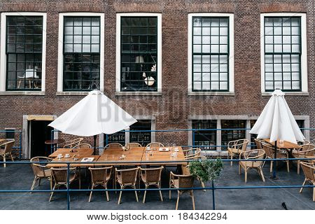 Delft Netherlands - August 3 2016: Terrace of Restaurant in the historical city centre of Delft