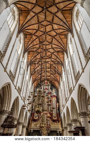 Haarlem Netherlands - August 3 2016: Low angle view of the interior of the Cathedral of Haarlem. The Grote Kerk is a Protestant church and former Catholic cathedral located on the central market square.