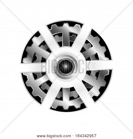 Gears on a white background. Vector illustration. Working gear. Machinery gear.