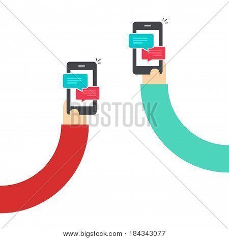 People chatting with mobile phones vector illustration, flat cartoon style hands with smartphones and messages chat bubbles, two persons messaging with cellphone, sms communication