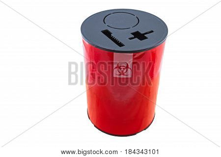 Close up red disposal boxes for Infectious waste isolated on white background.Saved with clipping path.