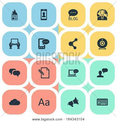Vector Illustration Set Of Simple User Icons. Elements Document, Site, Laptop And Other Synonyms Share, Network And Blog.