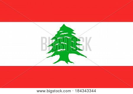 National flag of Lebanese Republic. Patriotic sign in official national country colors of Lebanon and proportion correctly. Symbol of Western Asia state. Vector icon illustration