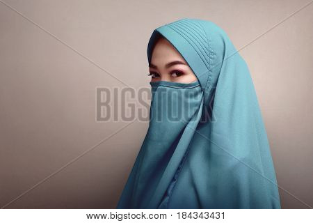 Beautiful Asian Muslim Woman In Hijab With Face Covering