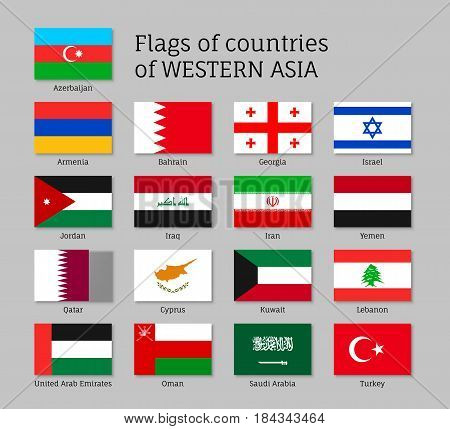 Set of flat flags of Asian countries - Qatar, Lebanon, Kuwait and Saudi Arabia, Arab Emirates, Cyprus, Lebanese, Oman. 17 ensigns on flagpole of Western Asia states. Vector isolated icons