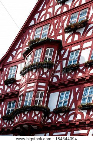 Picturesque historic half-timbered house with bay windows in the medieval town of Miltenberg, Bavaria, Germany