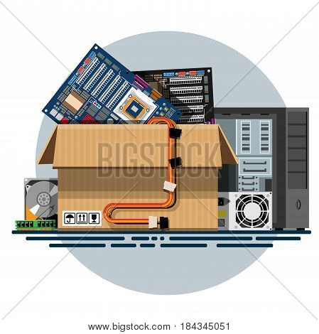 Illustration of a cardboard box with old things in a flat style. Box with old stuff vector. Computer hardware, motherboard, power supply, hard drive, RAM, computer case. Vector illustration Eps10 file