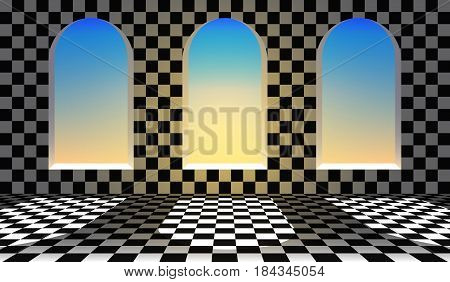 Wonderland background.Chess checkered floor, arch windows. Vector illustration