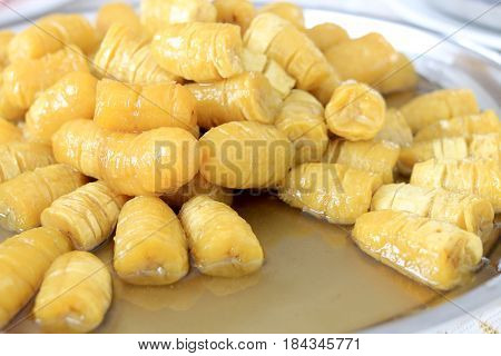 Preserved Banana With Syrup In Stainless Tray. Thai Style Preserved Banana, Thai Style Banana Desser