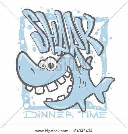 cartoon shark t-shirt print design vector illustration.