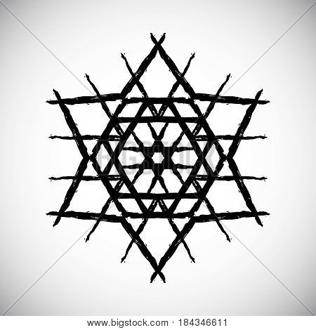 Painted star vector. Six-angle shape from black brush strokes. Abstract geometric pattern. Intricate triangle ornament for logo, emblem. Unusual mandala background. Grunge illustration.