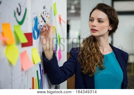 Thoughtful female executive looking at sticky notes on white wall in creative office