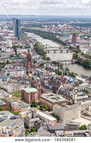 Germany Frankfurt am main skyscrapers aerial view
