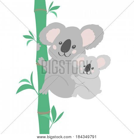 Cute illustration of bear koala family. Small koala sitting on his mother neck. Print for tshirt, baby textile, wallpapers and other