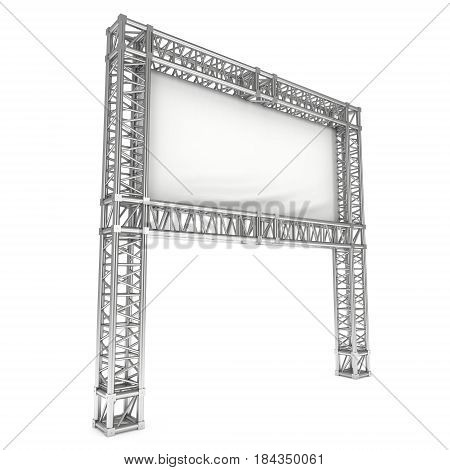 Steel truss girder element banner construction. 3d render press wall isolated on white