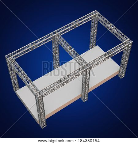 Steel truss girder rooftop construction with outdoor festival stage. 3d render podium on blue. poster