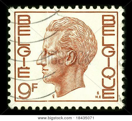 BELGIQUE - CIRCA 1993: A stamp printed in BELGIQUE shows image of the Baudouin I, reigned as King of the Belgians, following his father's abdication, from 1951 until his death in 1993 circa 1993