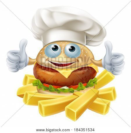 Cartoon chef burger mascot character and French fries or chips