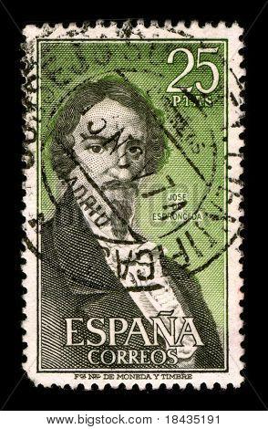 SPAIN - CIRCA 1974:A stamp printed in SPAIN shows image portrait Jose Ignacio Javier Oriol Encarnacion de Espronceda y Delgado (March 25, 1808 - May 23, 1842) was a Romantic Spanish poet, circa 1974.