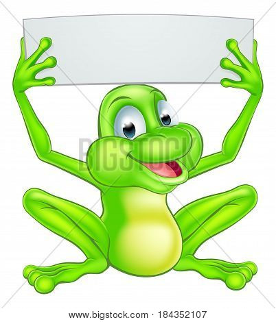 An illustration of a cute cartoon frog mascot character holding up a sign