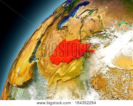 Afghanistan From Orbit Of Model Earth