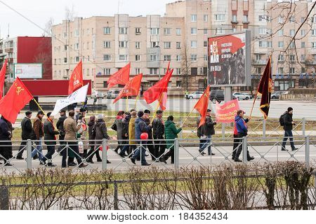 Kirishi, Russia - 1 May, Festive May Day demonstration in the street,1 May, 2017. People at the May demonstration and rally in the Russian provincial government.