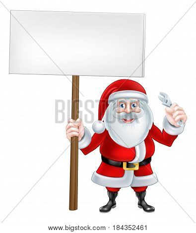 A Christmas cartoon illustration of Santa Claus with sign board and wrench