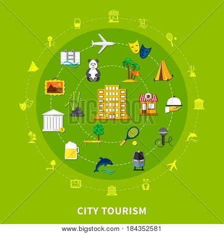 City tourism design concept with landmarks museum exhibits national flora fauna and food round icons set flat vector illustration