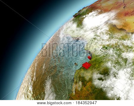 Equatorial Guinea From Orbit Of Model Earth