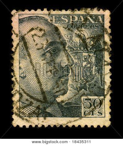 SPAIN-CIRCA 1950:A stamp printed in Spain shows image portrait Francisco Paulino Hermenegildo Teodulo Franco y Bahamonde Salgado Pardo de Andrade,commonly known as Franco, circa 1950.