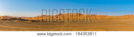Panoramic view at the sand dunes of Erg Chebbi (Sahara) in Morocco