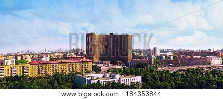 Top view of Moscow city. VDNH. View on  hotel Space (Kosmos)