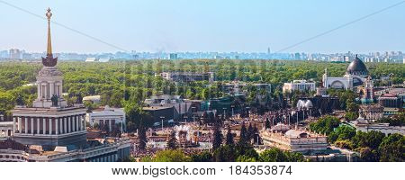Top view of Moscow city. VDNH. Kind from above on arch of input, fountain of friendship of peoples and pavilions of exhibition.