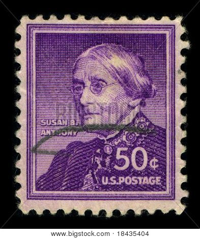 USA-CIRCA 1940:A stamp printed in USA shows image of the Susan Brownell Anthony (February 15, 1820 - March 13, 1906) was a prominent American civil rights leader,circa 1940.