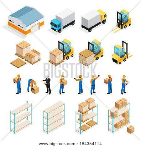 Warehouse isometric set including manager and workers, goods, trucks and forklifts, pallets and shelves isolated vector illustration
